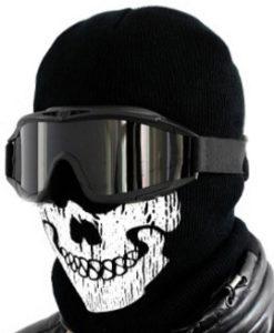 Маска балаклава с принтом череп с очками для сноуборда