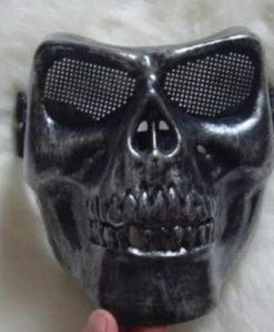 Маска череп скелет прочная черная с потертостями