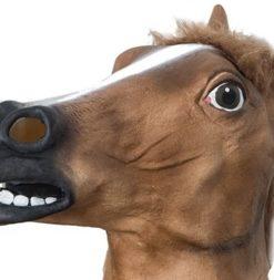 Маска лошади коня темно коричневая резиновая